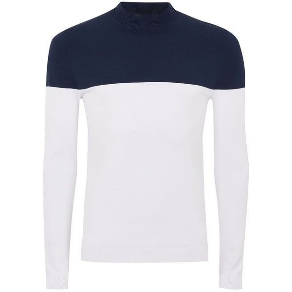 TOPMAN Navy And White Turtle Neck Jumper ($40) ❤ liked on Polyvore featuring men's fashion, men's clothing, men's sweaters, navy, mens navy sweater, mens turtleneck sweater and mens slim fit sweaters