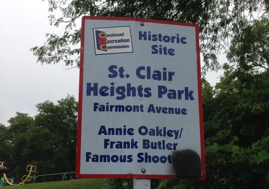 Did Annie Oakley shooting contest happen in Cincinnati? Photo: A sign in North Fairmount marks the site of the legendary shooting contest between Annie Oakley and Frank Butler. The Enquirer/Jeff Suess