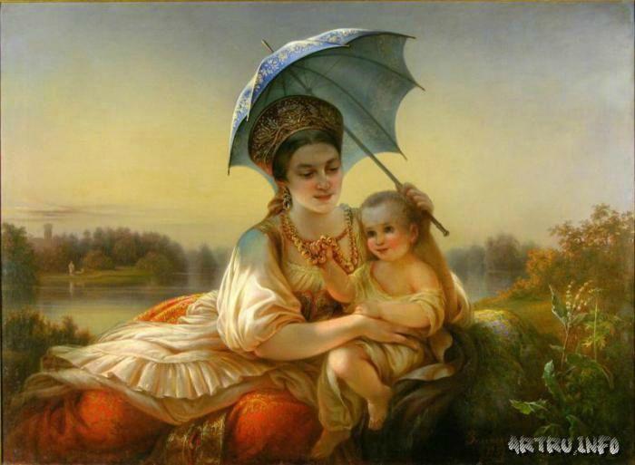 Кормилица с ребенком. А.А. Зеленский, 1857г