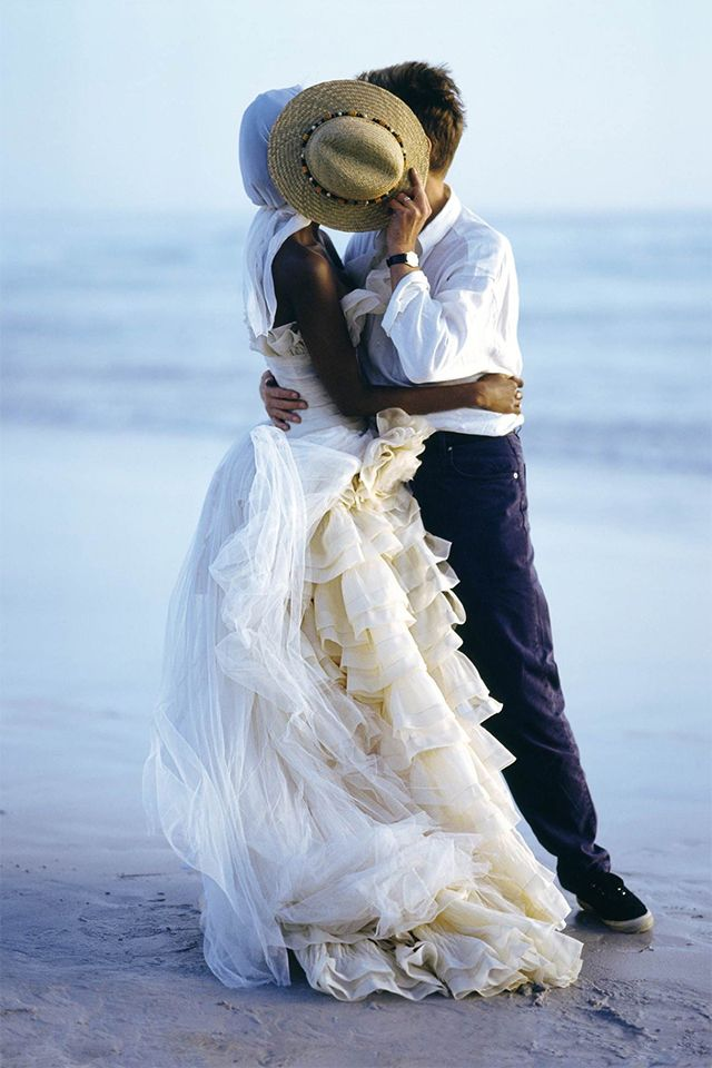 David Bowie and Iman: A Timeline of Their Whirlwind 26-Year Romance - 1995: Iman & David Bowie photographed by Bruce Weber for Vogue