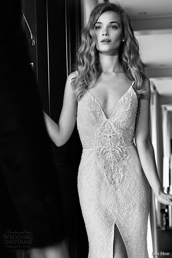lihi hod wedding dresses 2015 bridal spagetti strap v plunging neckline lace high slit sheath gown style anastacia zoom
