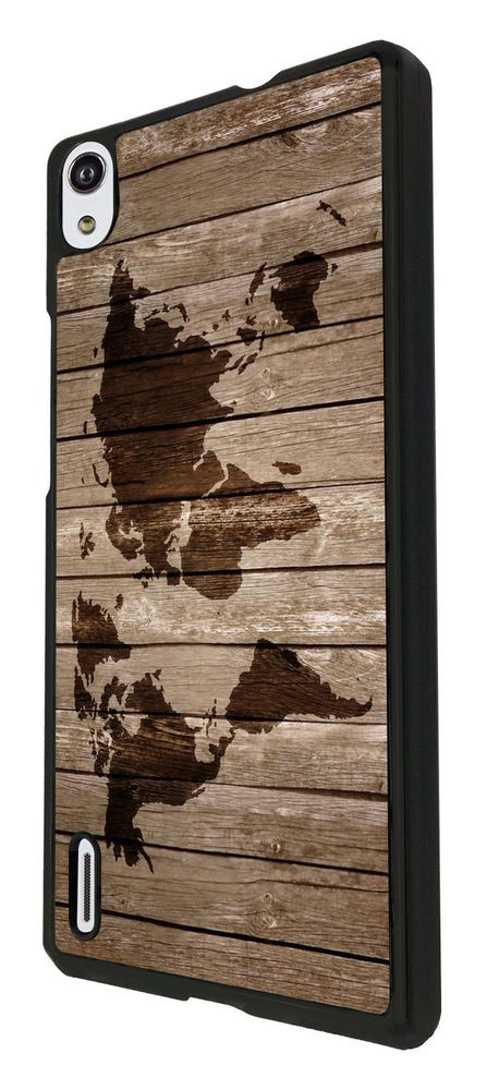Vintage Wood Design Look Vintage World Map Huawei P7 / Huawei P7 Mini Case Cover