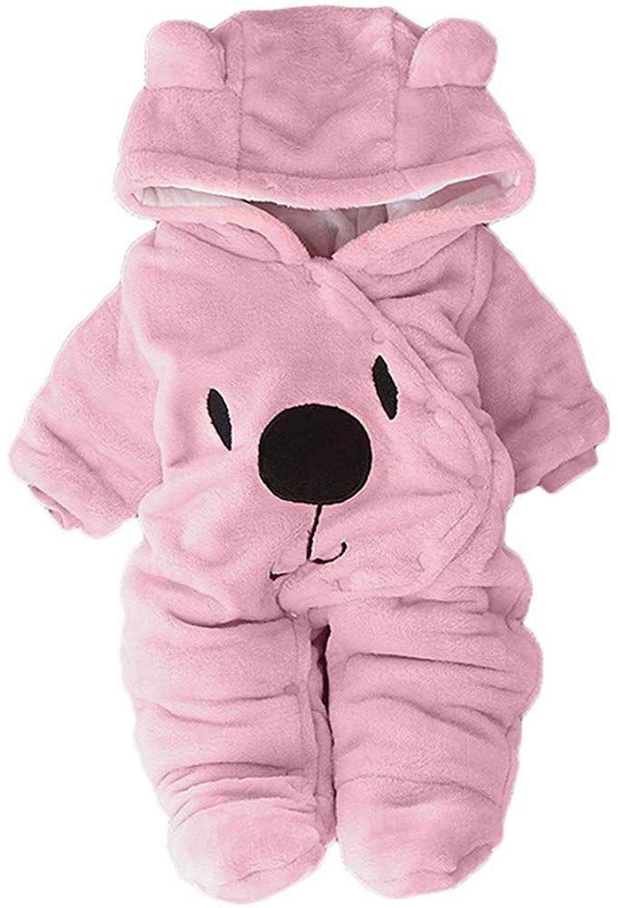 Newborn Baby Boy Girls Romper Plush Hooded Jumpsuit Bodysuit Outfits Clothes