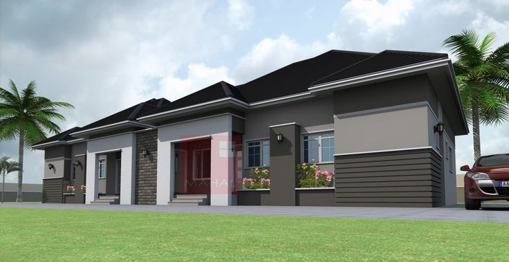 Contemporary Nigerian Residential Architecture: 3 Bedroom Semi-Detached Bungalow