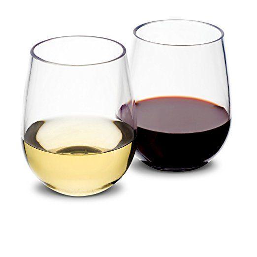 vinosimo unbreakable wine set of 4 tritan glassware bpafree plastic stemless wine glasses w 2 bonuses corkscrew - Plastic Stemless Wine Glasses