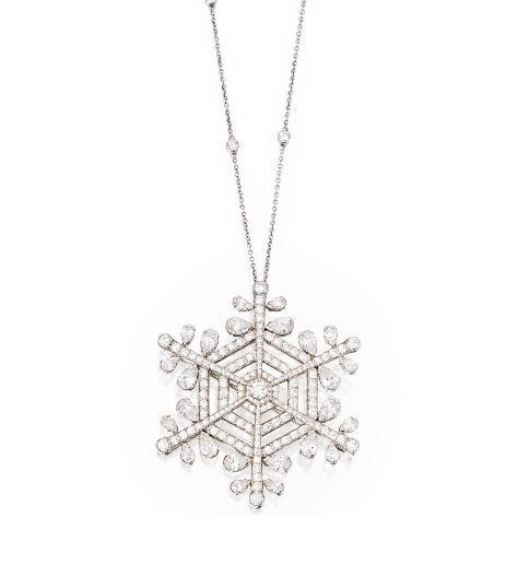 18b9c1bd3 Platinum and Diamond Snowflake Pendant-Necklace, Tiffany ...