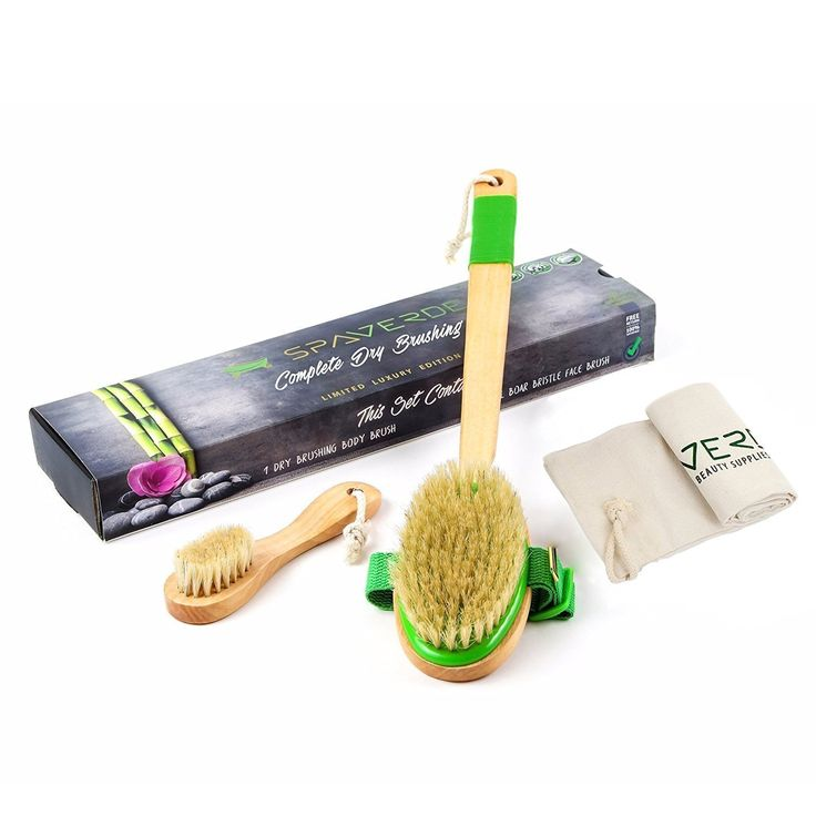 SpaVerde Natural Boar Bristle Body Brush and Face Brush Set for Dry Brushing, Bath and Shower, Green. Exfoliate and rejuvenate your skin by using the SpaVerde dry brushing brush with 100% natural boar bristles. Get the full at-home spa experience with this complete dry brushing set, which includes a body brush, a face brush, a bonus storage and travel linen bag & easy-to-follow printed instructions. Great inflammation and swelling reducer - swollen feet and ankles relief. Perfect as a…