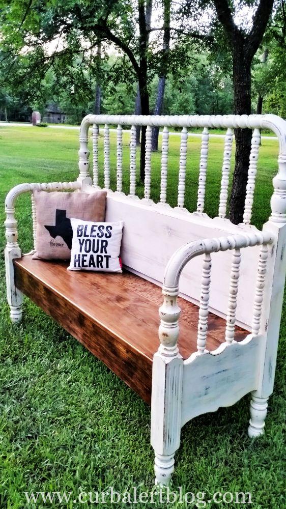 """Curb Alert! : """"Bless Your Heart"""" Texas Headboard Bench"""