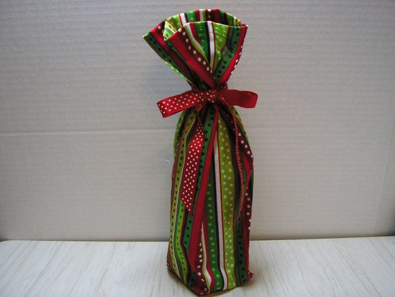 Christmas - Wine Bottle Gift Bag - Polka Dots on Stripes - Do you shop year round for the holidays?