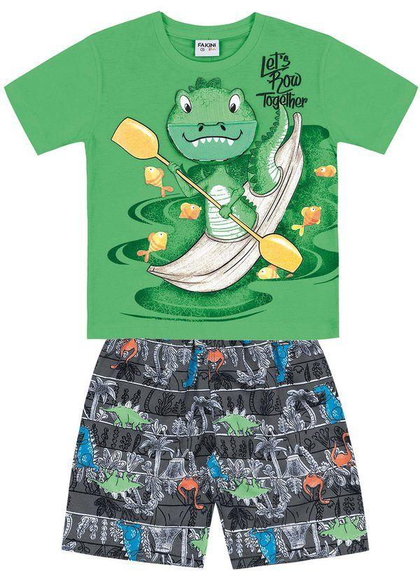 c14a6e877 Conjunto Infantil Masculino Verde Fakini Kids Camiseta interativa com  estampa frontal de jacaré e aplique com
