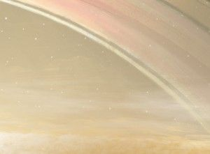 SATURNO Quase sempre as nuvens de amônia deixam o céu como Júpiter, só que um pouco mais esbranquiçado, Mas nos dias limpos, os anéis seriam, assim como a grande lua titã, que é laranja-escura.
