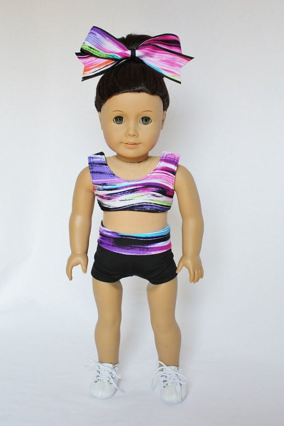 "American Girl 18"" Doll - Cheerleader Sports Bra and Shorts - Rainbow and Black on Etsy, $20.00"