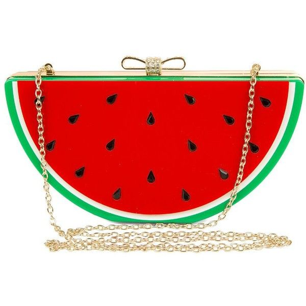 Jessica Mcclintock Watermelon Clutch found on Polyvore featuring bags, handbags, clutches, accessories, red, lucite purse, fancy hand bags, red handbags, red purse and bow handbag