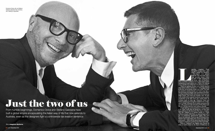 """Dolce & Gabbana: an exclusive interview. """"Just The Two of Us"""". Read full article http://josephinemckenna.net/portfolio/just-the-two-of-us/"""