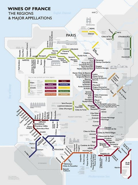 Metro Wine Carte de France -  Carte Métro des Vins de France (régions, appellations)