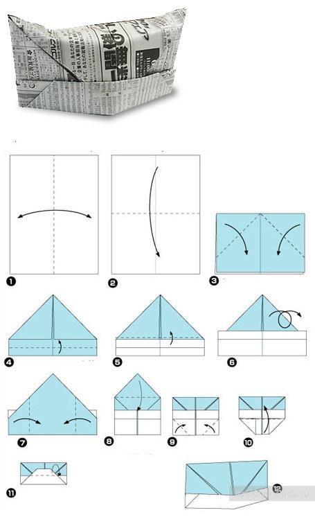 Шапка из газеты - схема оригами