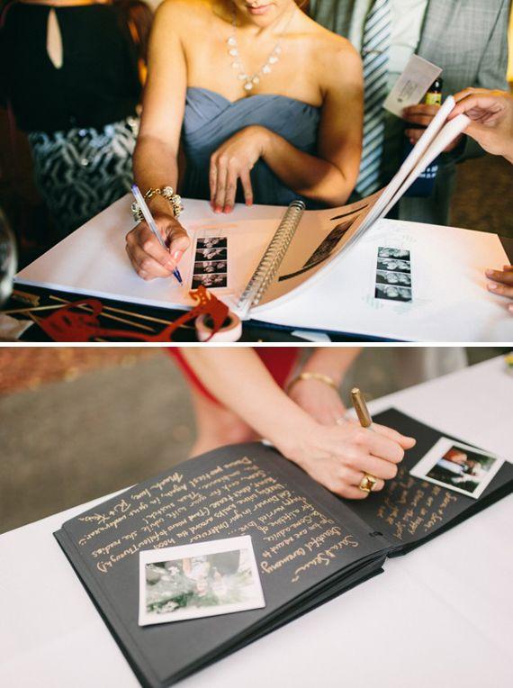 livre d'or page noire stylo dorée + ajouter les photos du mariage