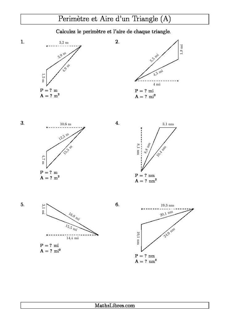 Calcul de l'Aire et du Périmètre d'un Triangle Obtusangle (En Rotation) (A). Disponible le 27 Août 2015.