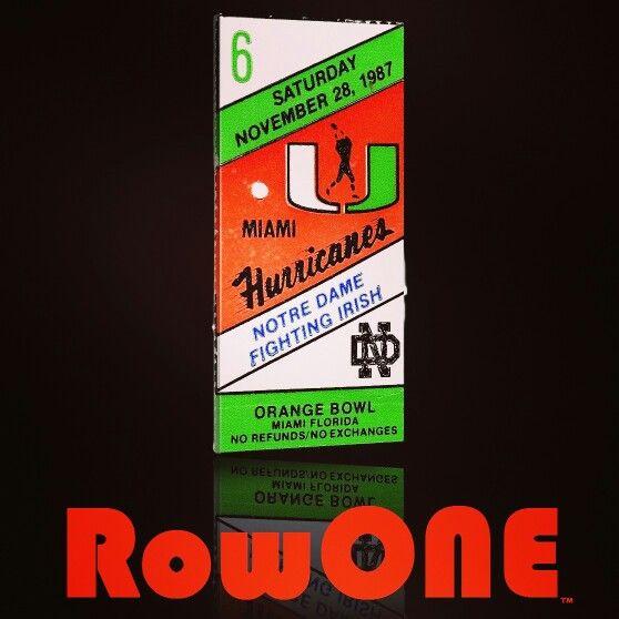 1987 Miami Hurricane ticket art. Row One Brand: Unique sports art and sports gift ideas. Vintage ticket art and ticket gifts made from 3,000 historic sports tickets. #gifts #giftideas #sports #Miami #florida #TheU