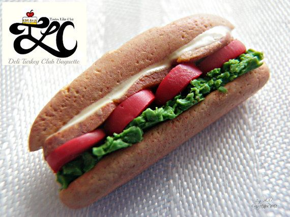 A new addition to my T.L.C - Tastes Like Clay, polymer clay miniature food line!  This tasty looking deli sandwich, contains smoked turkey, green leaf lettuce, bacon and is finished with a creamy mayonnaise. It is calorie, fat, sugar, sodium free and has not been genetically modified! But I warn you, it Tastes Like Clay (because it is ;))!  This delectable looking creation has been handsculpted from polymer clay, by Amanda Ramey (that's me), without any use of molds. It measures…