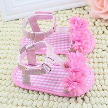 Baby Girl Floral Verão Berço Macio Sole Anti-slip Sapatos Princesa 0-18 M(China (Mainland))