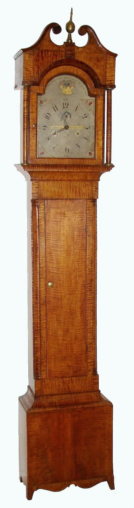 Totally a favorite!  New England tiger maple tall case clock, c1810,
