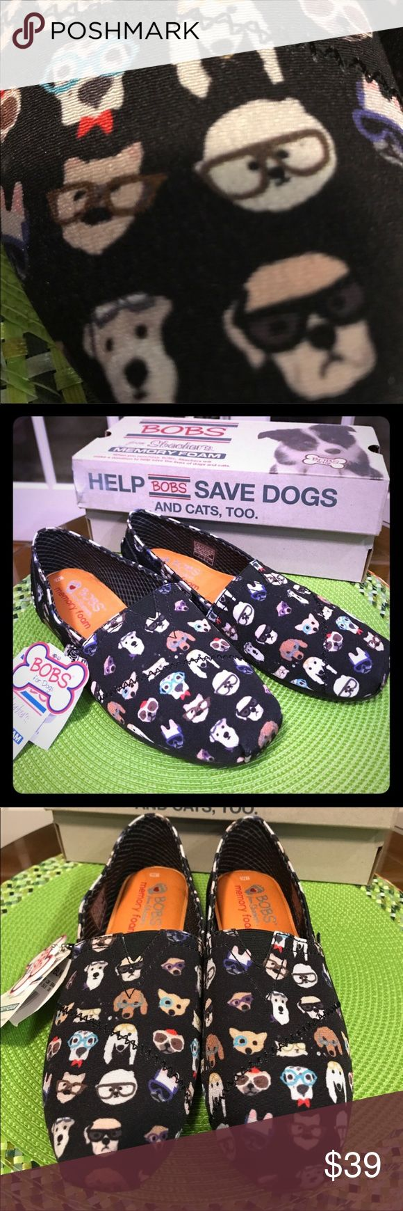 5 Bobs for Dogs from Sketchers Memory Foam Shoes RESTOCKED‼️  Super cute Bobs for Dogs from Sketchers Memory Foam Shoes! These black shoes with nerdy dogs all over them are just adorable and comfortable. They have memory foam and an arch pillow. Purchasing these shoes help to save dogs' and cats' lives. ☺️ Skechers Shoes Flats & Loafers #FavoriteMemoryFoam