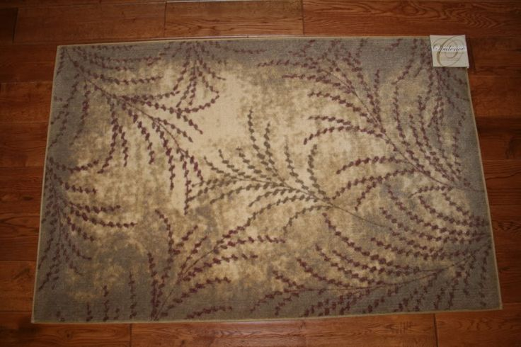 3x4 Kitchen Rug Washable Mat Rugs Leaves Branches Beige