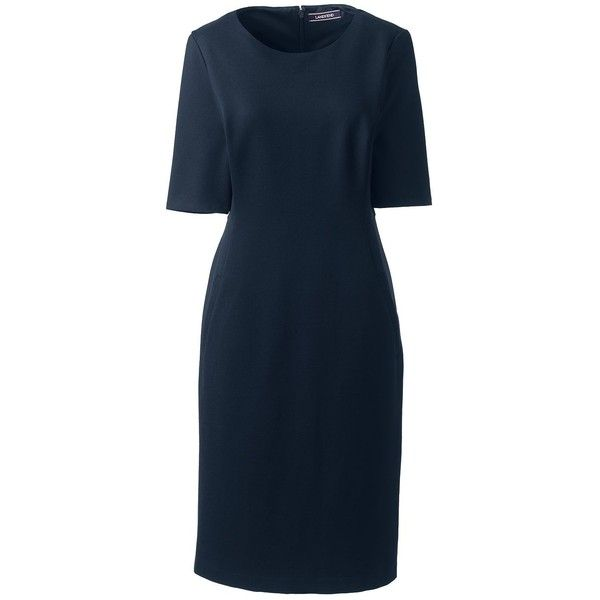 Lands' End Women's Petite Elbow Sleeve Ponte Sheath Dress (100 CAD) ❤ liked on Polyvore featuring dresses, blue, special occasion dresses, slimming dresses, petite evening dresses, pocket dresses and petite special occasion dresses