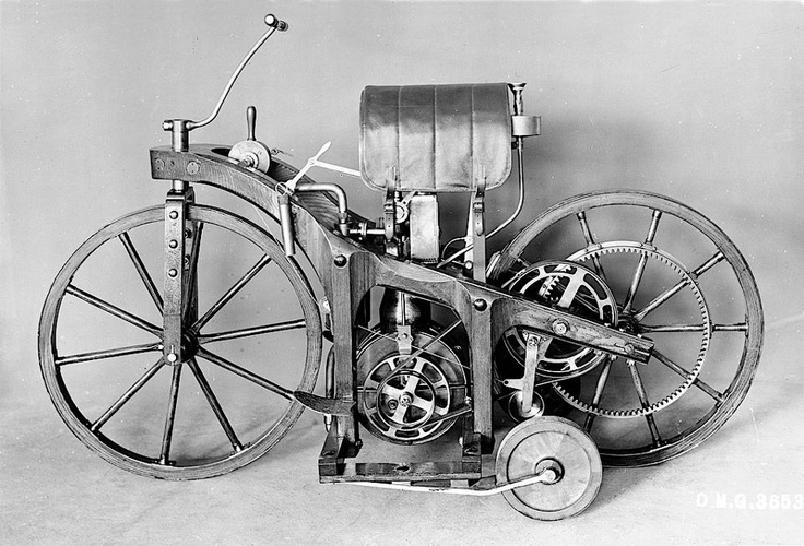 """1885: Daimler """"riding car"""": world's first motorcycle --- Gottlieb Daimler registers a patent for a two-wheeled """"vehicle with gas or petroleum engine"""" (patent no. DRP 36 423 issued on 11 August 1886). The test vehicle, producing 0.5 hp / 0.37 kW and also described as """"petroleum riding car"""", is the world's first motorcycle. On 10 November, Gottlieb Daimler's younger son Adolf undertakes a maiden journey from Cannstatt to Untertürkheim, reaching speeds of up to 12 km/h."""