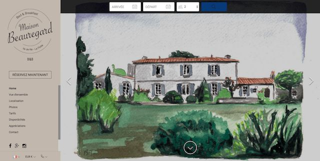 Maison Beauregard -  An original watercolor color image on the homepage of Maison Beauregard's website invites viewers to check out the rest of the slideshow and compare it with reality. The stamp-like logo conjures up images of vacation postcards which adds another picturesque touch.  #vacationrentalwebsites #vacationrentals #webdesign #website