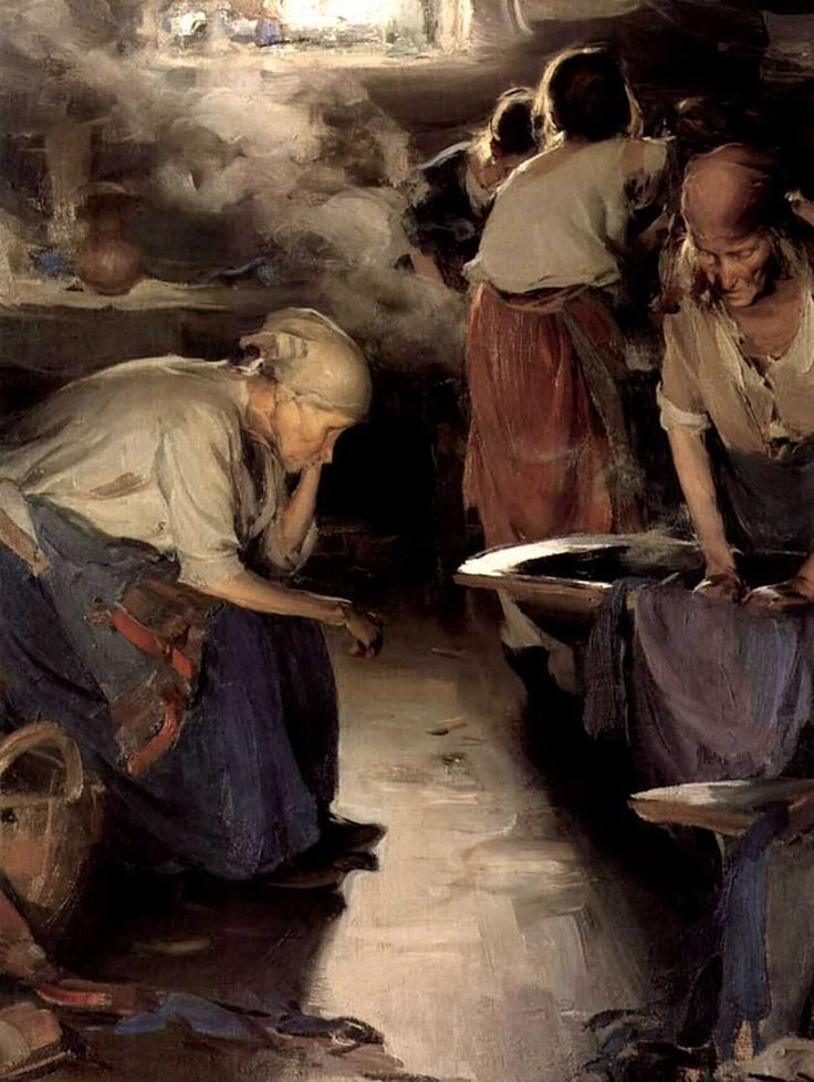 The Laundresses, 1899, Abram Arkhipov, Russian Painter