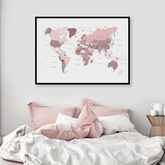 World Map Download Blush Pink And Cranberry Downloadable Print Large A0 Wall Map Digital Print Pink Map Dorm Study Wall Decor Pink Bedroom Pink Bedroom Decor Map Bedroom Blush Pink Bedroom