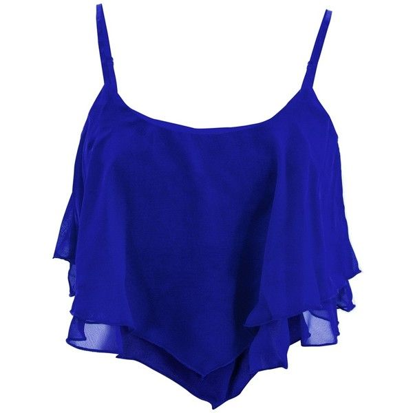 Crop tiered cami in flowy chiffon. Adjustable bra straps and built in shelf bra. Domestic poly.