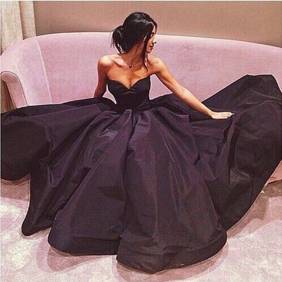 Black Prom Dresses,Sweetheart Prom Dress,Taffeta Prom Dress,Simple Prom Dresses,2016 Formal Gown,Cheap Evening Gowns,Ball Gowns Party Dress,Long Prom Gown For Teens