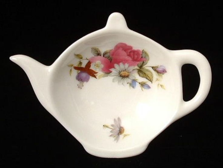 Teapot Shape Tea Bag Caddy Floral Bouquet England Allyn Nelson