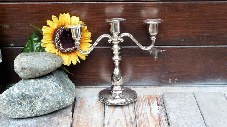 Silver Plated 3 Arms Candle Holder, Candle Stick Holder, Vintage Candelabra, Home Decor by Grandchildattic on Etsy