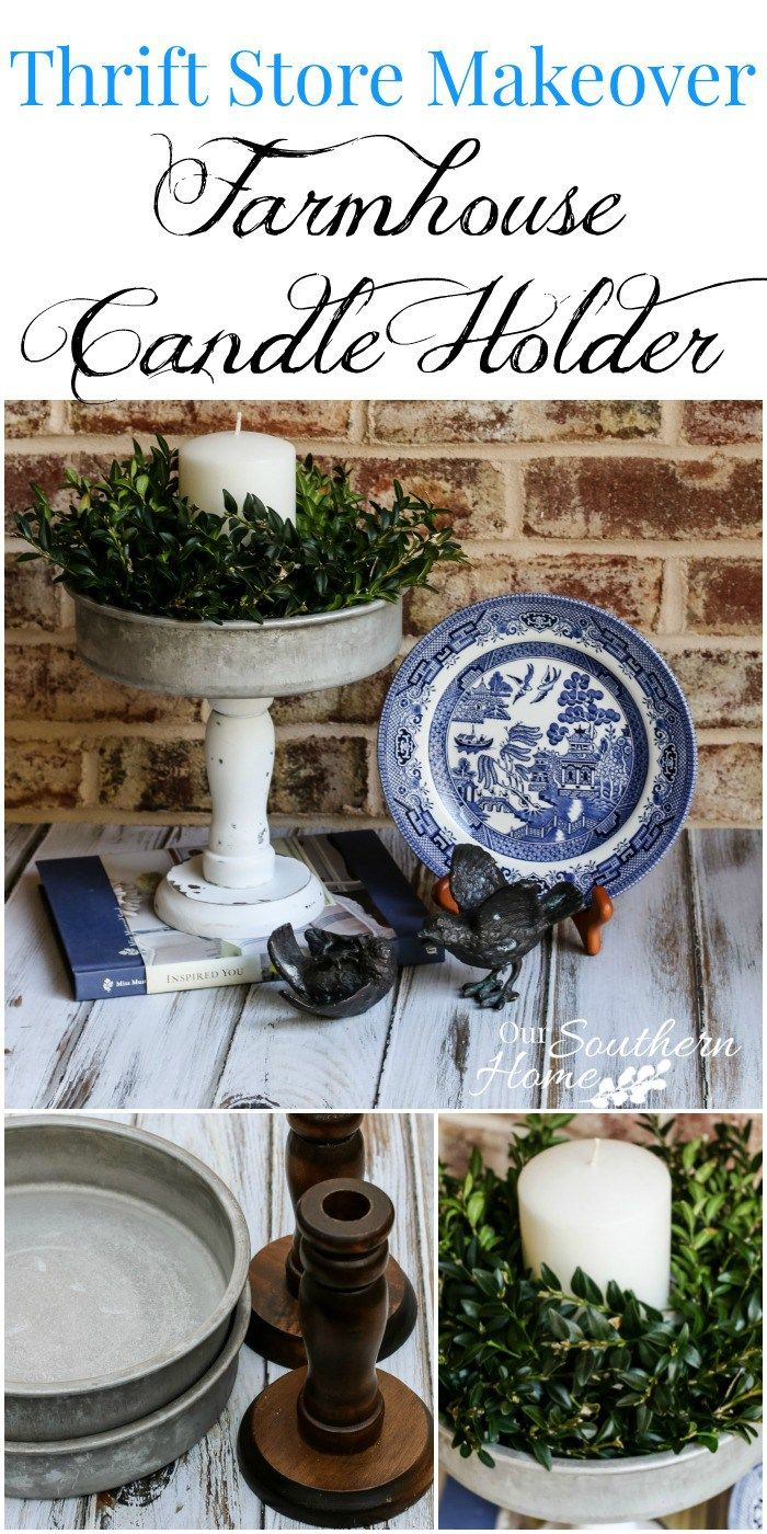 Farmhouse candle holder made with thrift store items by our southern home