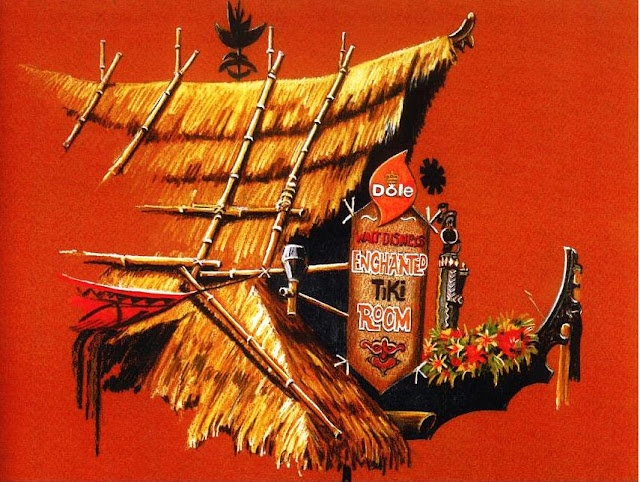 """A conceptual rendering for signage of the """"Polynesian Terrace Bird Cafe & Tiki Garden"""" which eventually became the """"Walt Disney's Enchanted Tiki Room"""" 