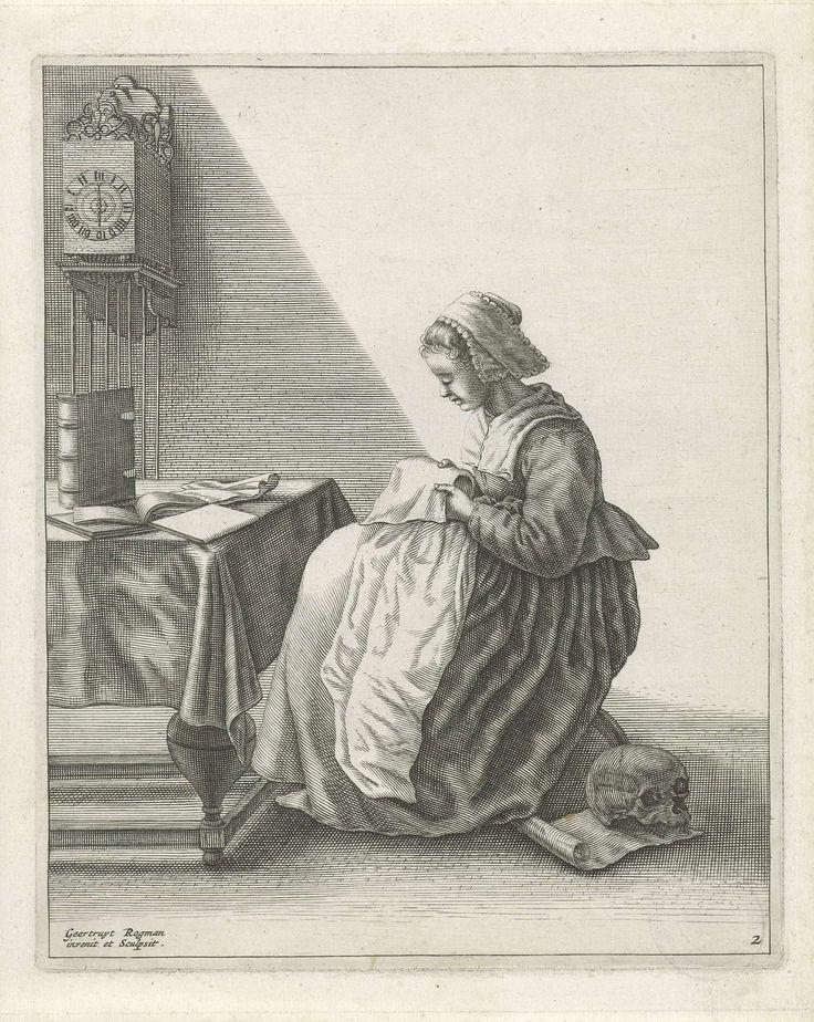 Geertruydt Roghman | Handwerkende vrouw, Geertruydt Roghman, 1648 - 1650 | Een jonge vrouw zit in een vertrek aan een tafel waarop enkele boeken, en is bezig met het vouwen van een kraag of een muts. Ze is gekleed volgens de burgerlijke mode van ca. 1640 en draagt een mutsje op het hoofd. Aan de wand hangt een klok. Op de grond, achter haar stoel, ligt een doodshoofd op een rol papier. De prent maakt deel uit van een serie van vijf prenten met huiselijke werkzaamheden.
