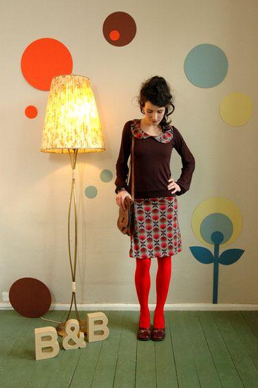 """Kleid """"ella"""" in braun-rot mit weitem ärmel"""
