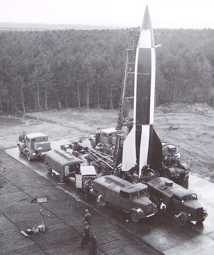 ✠ The Aggregat-4 rocket, the world's first long-range ballistic missile. It became infamous as the Vergeltungswaffe 2 (V-2), used as retaliation for the bombings of Germany's cities. During the closing of the war and afterwards the USSR and USA stole all available rocket plans, designs, equipment and, by threats of war-crime charges, even the surviving German scientists themselves.