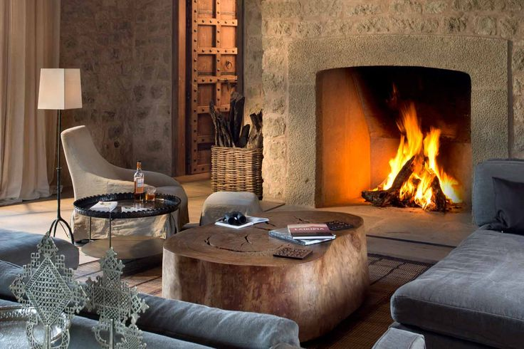 Arijiju Retreat Laikipia Plateau fireplace in living room