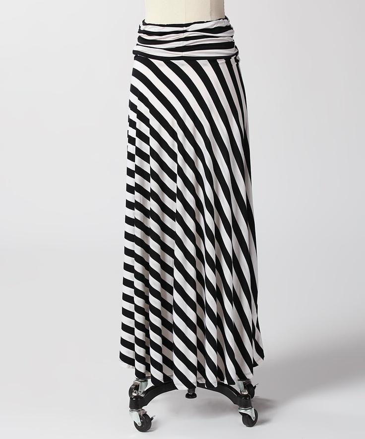 black white stripe maxi skirt