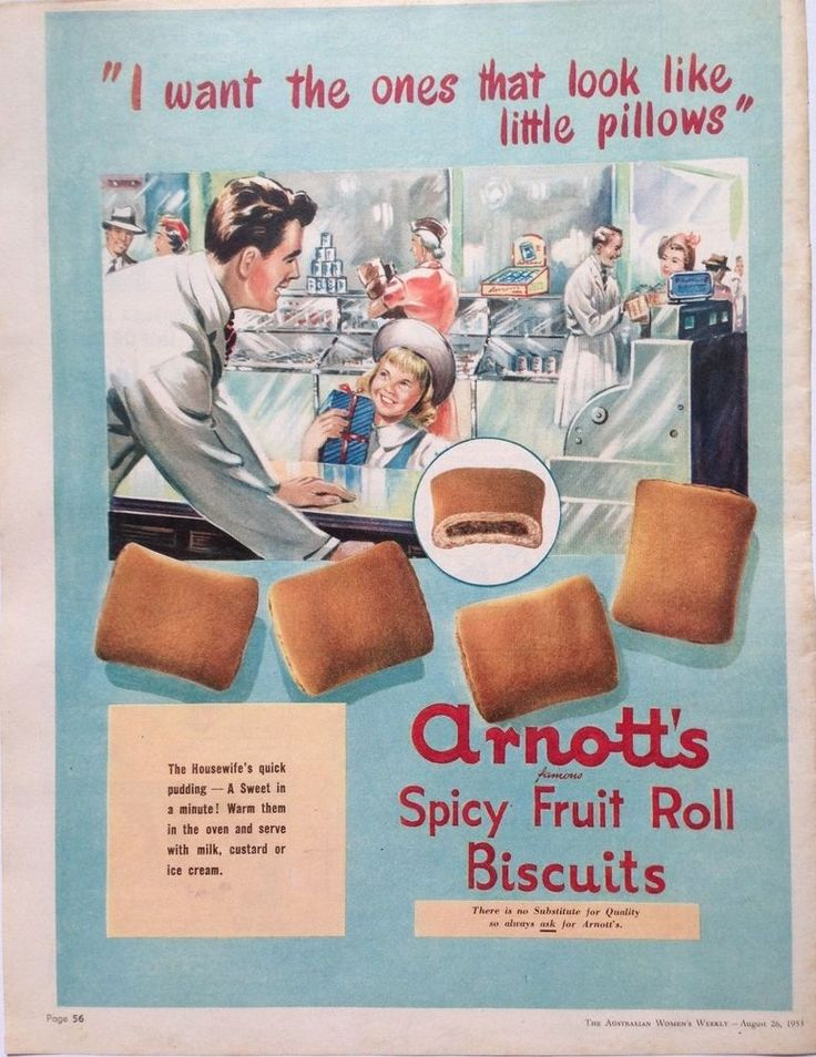 ARNOTT S SPICY FRUIT ROLL LARGE AD 1953 original vintage AUSTRALIAN advertising