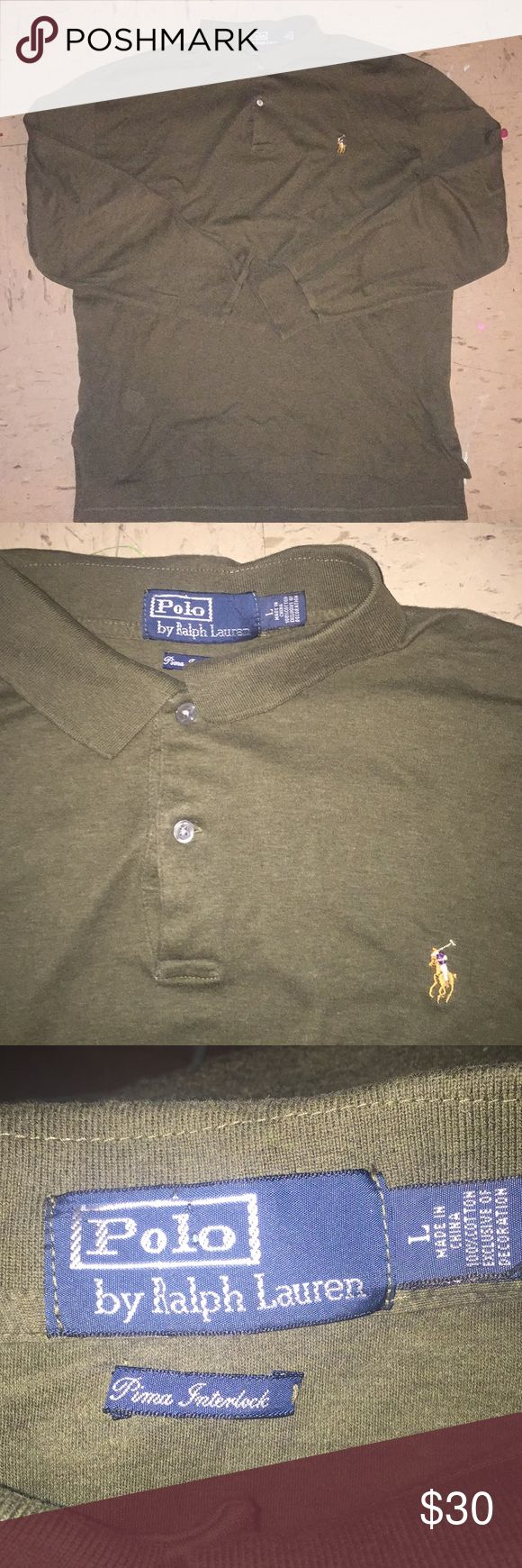 polo ralph lauren long sleeve polo shirt a prima interlock long sleeve polo shirt from polo ralph lauren. the color is olive green. the back of the collar has a strip of brown. long sleeve and looks great. gently used. buy now or best offer..... Polo by Ralph Lauren Shirts Polos