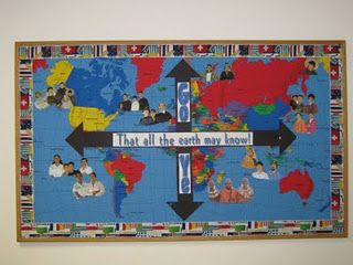 Would be a good missions focused bulletin board idea.... Step 1:: get a board approved for the hall :)