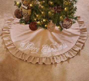 Dress your Christmas tree in this Merry Christmas Burlap Tree Skirt! #kirklands #holidaydecor #KirklandsHoliday
