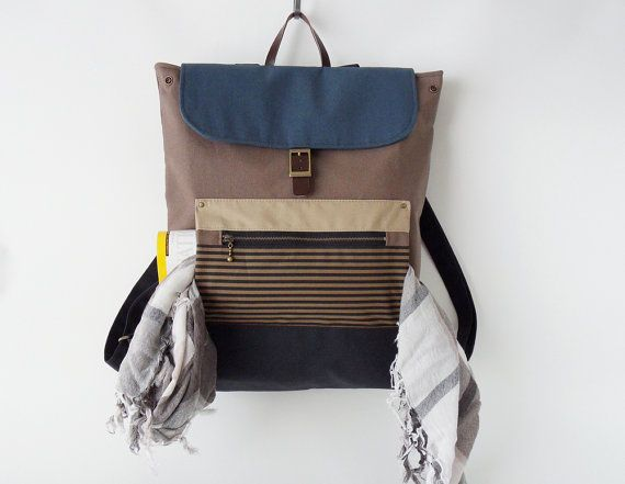Unisex, choco brown canvas backpack / Laptop bag / diaper bag / Front zipper pocket, Design by BagyBags