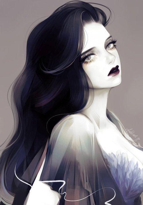 and with Anime girl eyes hair black hazel